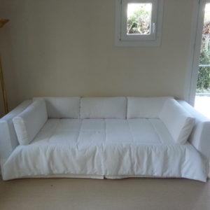 housse de canapé-lit tissu blanc